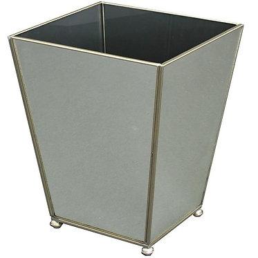 New Mirror Metal and Glass Wastebin Wastebasket