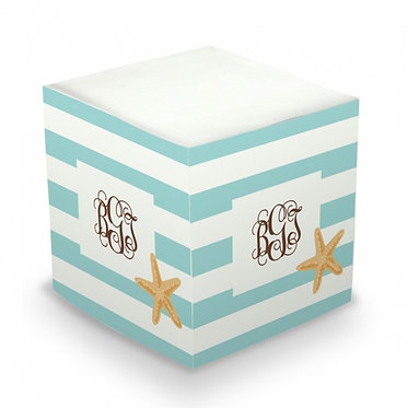 Starfish Stripe Monogram/Name Sticky Memo Cube