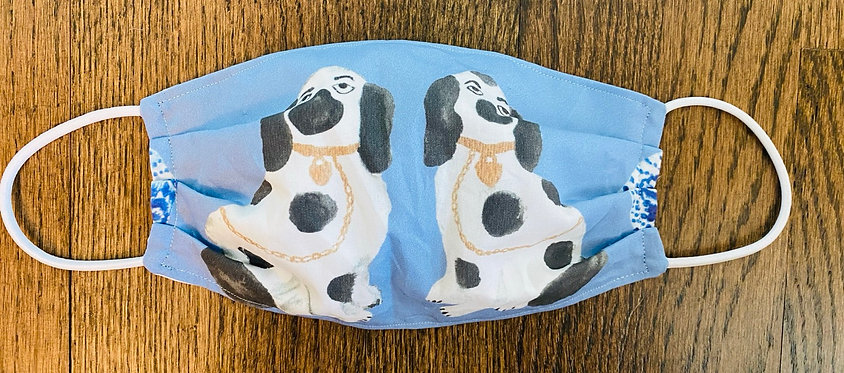 Blue White Staffordshire Dog Pair Face Mask - Multiple Sizes - Filter or Clas