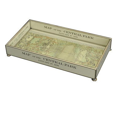"Central Park NYC  6"" x 12"" Metal and Glass Vanity Tray"