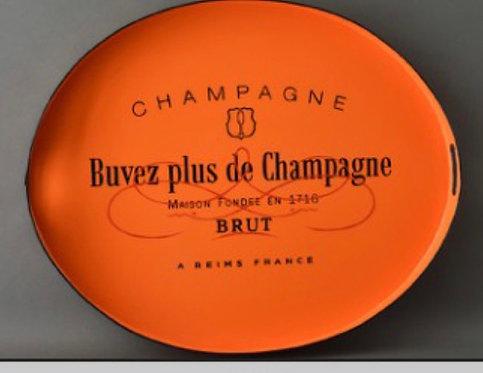 JM Piers Orange Brut Metal Tole Hand Painted Tray