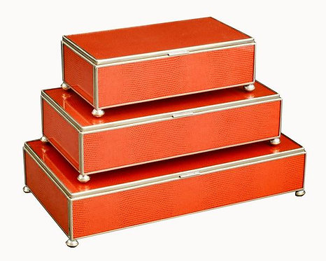 Orange Lizard Print Metal and Glass Rectangle Stacking Lidded Boxes Set of