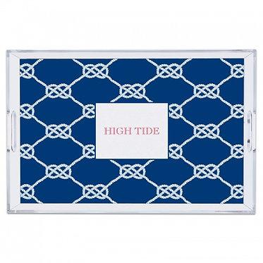 Nautical Knot Navy Lucite Monogram Tray (4 Sizes)