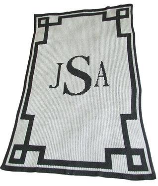 Monogram & Scroll Blanket By Butterscotch Blankees