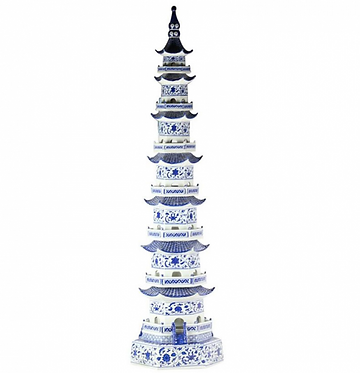 "47"" Porcelain Blue and White Tower Pagoda"