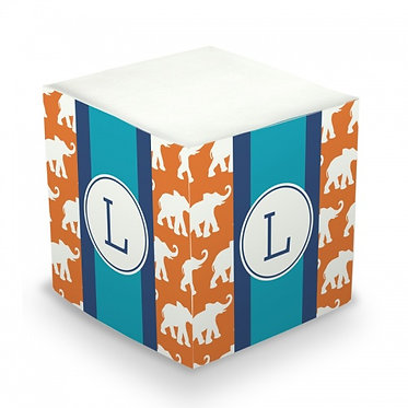 Elephants Monogram/Name Sticky Memo Cube