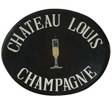 Chateau Louis Champagne Tole Metal Hand Painted Tray