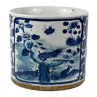 Blue & White Porcelain Large Planter - Birds | Floral