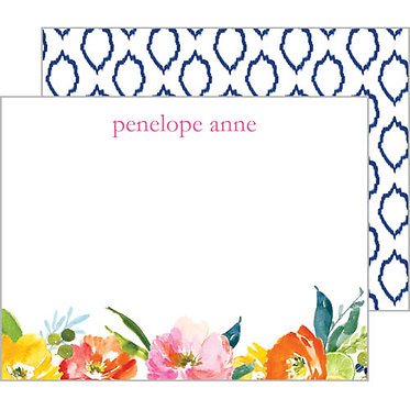 Floral Ikat Monogram Flat Notecards