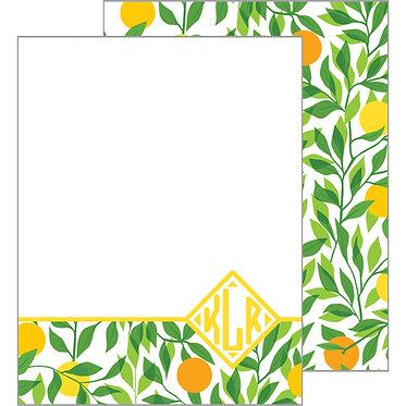 Citrus Monogram Flat Notecards