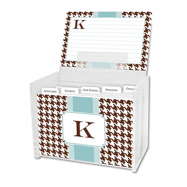 Alex Houndstooth Chocolate Recipe Box With Cards