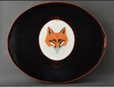 Fox on Black Metal Tole Hand Painted Tray