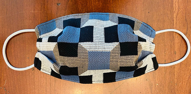 Hermès Fabric H Light Grey/Blue Taupe Geometric Print Face Mask