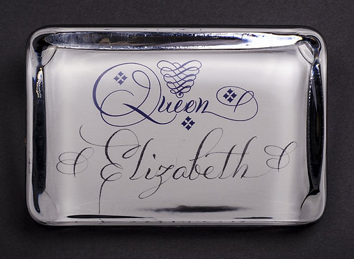 Custom Embossed Queen Monogram Name Glass Paperweight In Gift Box