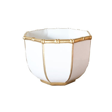 Small Bamboo Bowl In White And Gold