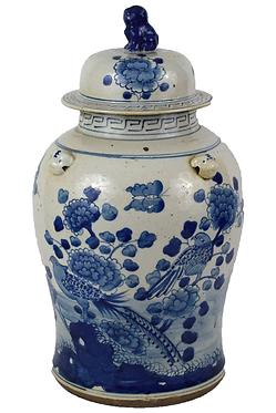 Blue & White  Porcelain Temple Jar - Birds w Foo Dog Topper