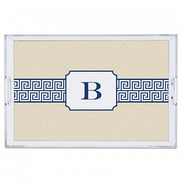 Greek Key Lucite Monogram Tray (4 Sizes)
