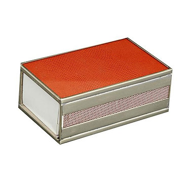 Orange Lizard Print Metal and Glass Decorative Matchbox Cover