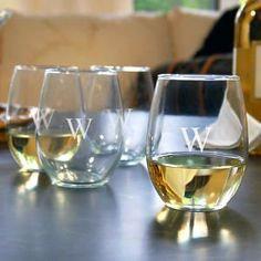 Monogrammed Stemless Luigi Bormioli Wine Glasses, 23oz, SET OF 4