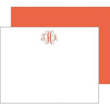 Script Monogram Orange Flat Notecards