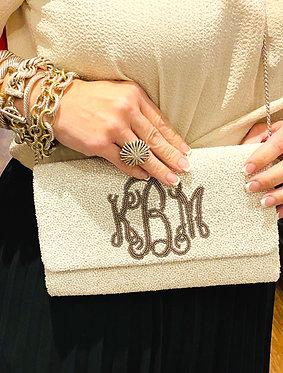Custom Monogram Envelope Beaded Clutch Handbag With Chain Strap