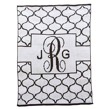 Lattice with banner Monogram Blanket By Butterscotch Blankees
