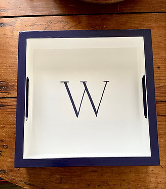 Hand Painted Custom Monogram Square Tray - Multiple Sizes Available