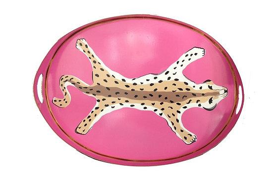 Oval Tray - Pink Leopard