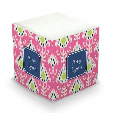 Mia Ikat Monogram/Name Sticky Memo Cube