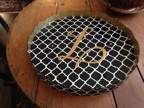 "Hand Painted Custom Monogram 20"" Round Scalloped Edge Tray Moroccan Design"