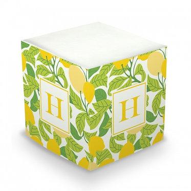 Lemons Monogram/Name Sticky Memo Cube