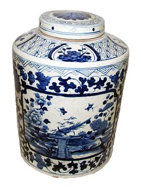 Blue & White Porcelain Large Tea Jar With Lid - Birds