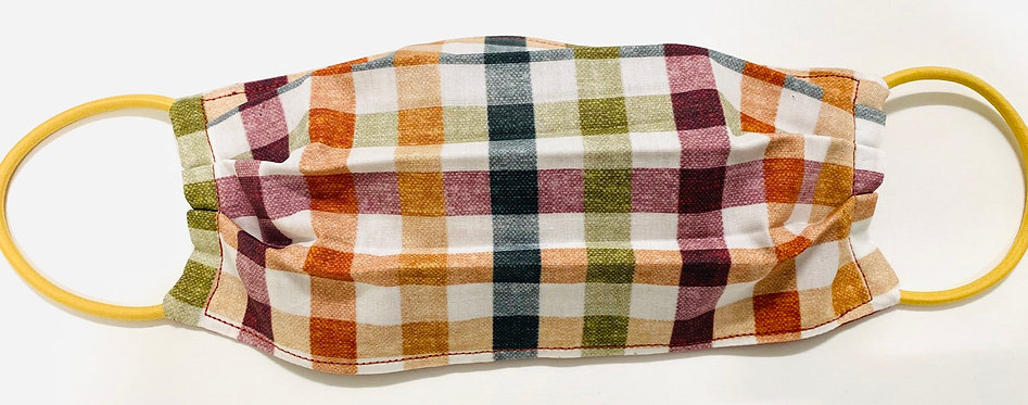 Harvest Gingham Face Mask - Multiple Sizes - Filter or Classic
