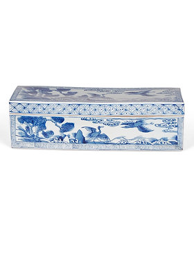 Blue and White Bird and Flower Box