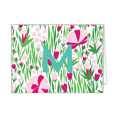Tulips Hot Pink & Pink Monogrammed Foldover Notecards