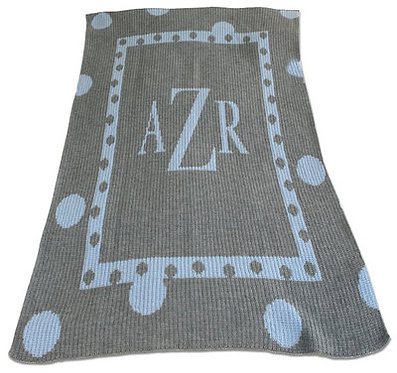 Large Polka Dot Monogram Blanket By Butterscotch Blankees