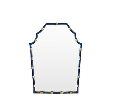 Bamboo Mirror In Navy and Gold