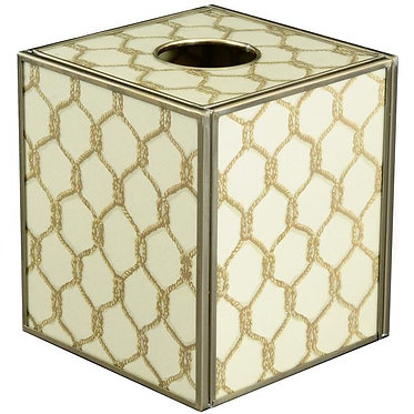 Gold Knot Tissue Box Cover Made of Metal and Glass