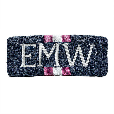 Custom Striped Monogram Envelope Beaded Clutch Handbag