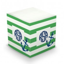 Anchor Stripe Monogram/Name Sticky Memo Cube