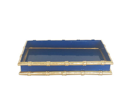 Bamboo Letter Tray Navy and Gold
