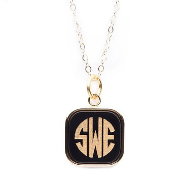 Vineyard Monogram Square Necklace