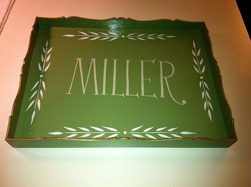 "Hand Painted Custom Monogram 18""x14"" Scalloped Edge Tray With Laurel Leaf"