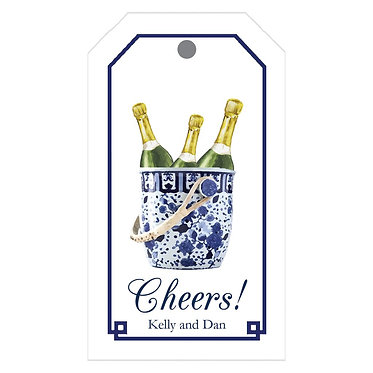 Blue and White Bucket Champagne Gift Tags