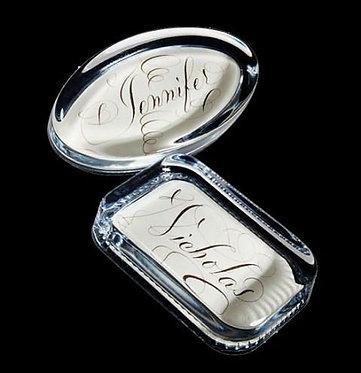 Bernard Maisner Custom Name Or Monogram On Black Glass Paperweight In Gift Box
