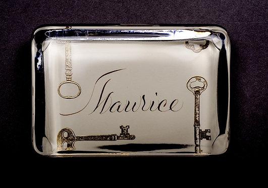 Bernard Maisner Custom Embossed Keys Monogram Name Glass Paperweight