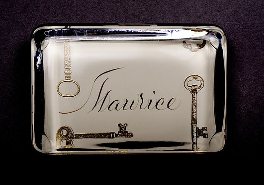 Custom Embossed Keys Monogram Name Glass Paperweight In Gift Box