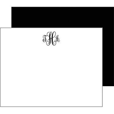 Script Monogram Black Flat Notecards