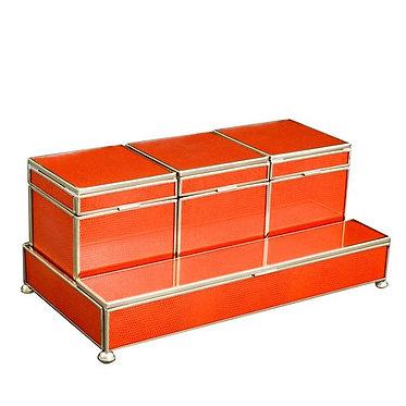 Orange Lizard Print Metal and Glass Three Box Vanity Set
