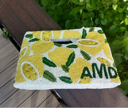 Cut Out Handle Lemons Beaded Monogram Handbag